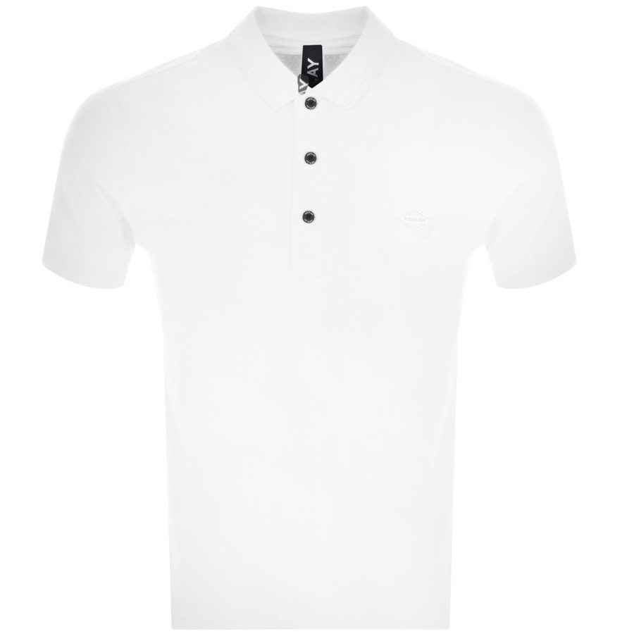 Replay Short Sleeved Logo Polo T Shirt White