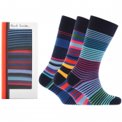 Paul Smith Gift Set 3 Pack Stripe Socks Navy