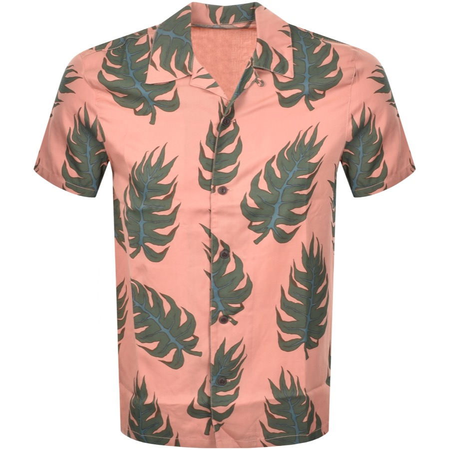 Nudie Jeans Short Sleeved Arvid Leaf Shirt Pink