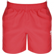 adidas Originals 3 Stripes Swim Shorts Pink