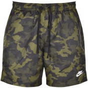 Nike Flow Camo Logo Swim Shorts Green