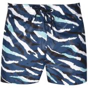 BOSS Tigershark Camo Swim Shorts Blue