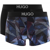 HUGO Two Pack Brother Boxer Trunks Black