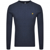 Lyle And Scott Crew Neck Cable Jumper Navy