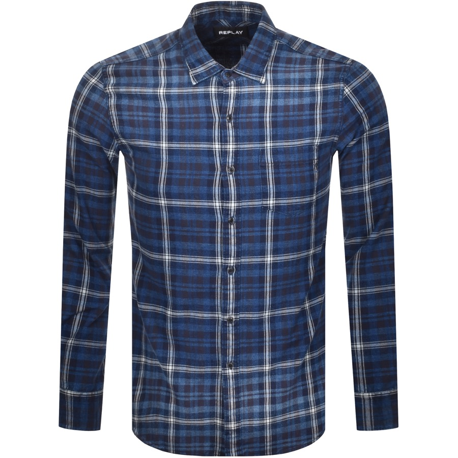 Replay Long Sleeved Checked Shirt Blue
