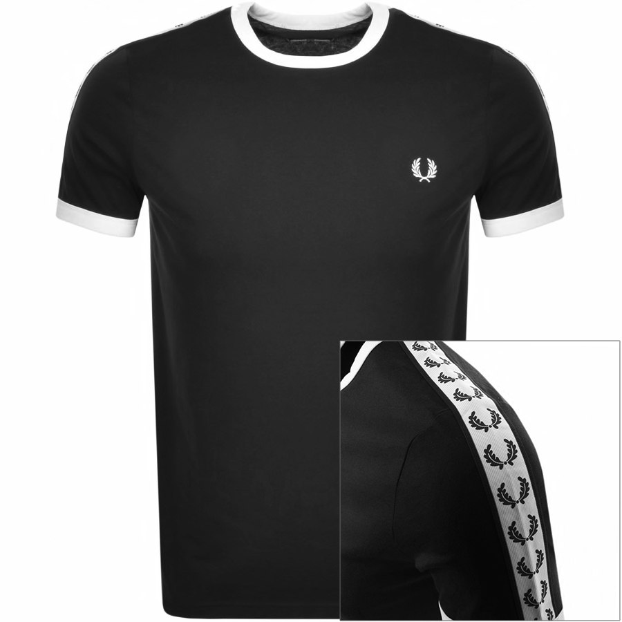 Fred Perry Taped Ringer T Shirt Black