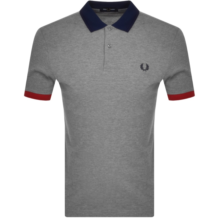 Fred Perry Contrast Trim Polo T Shirt Grey