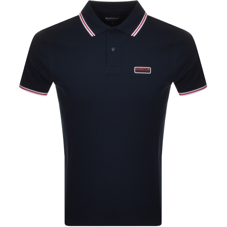 Barbour International Tipped Polo T Shirt Navy
