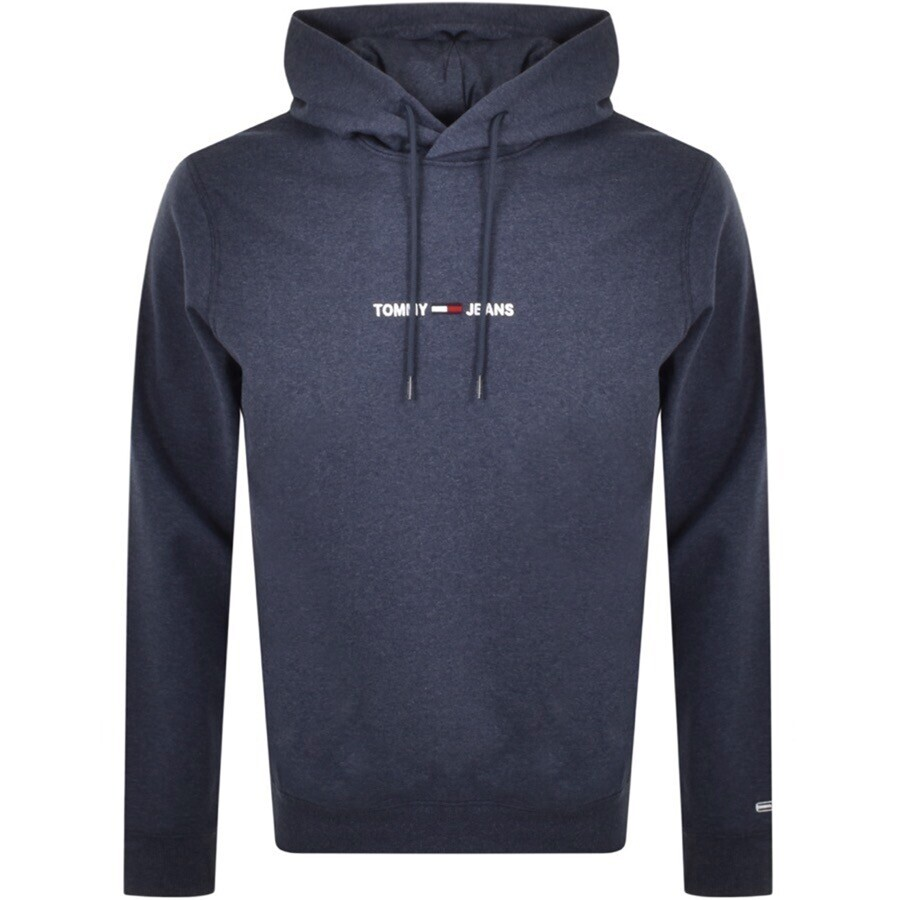 Tommy Jeans Straight Logo Hoodie Navy