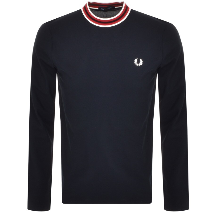 Fred Perry Long Sleeved Refined T Shirt Navy