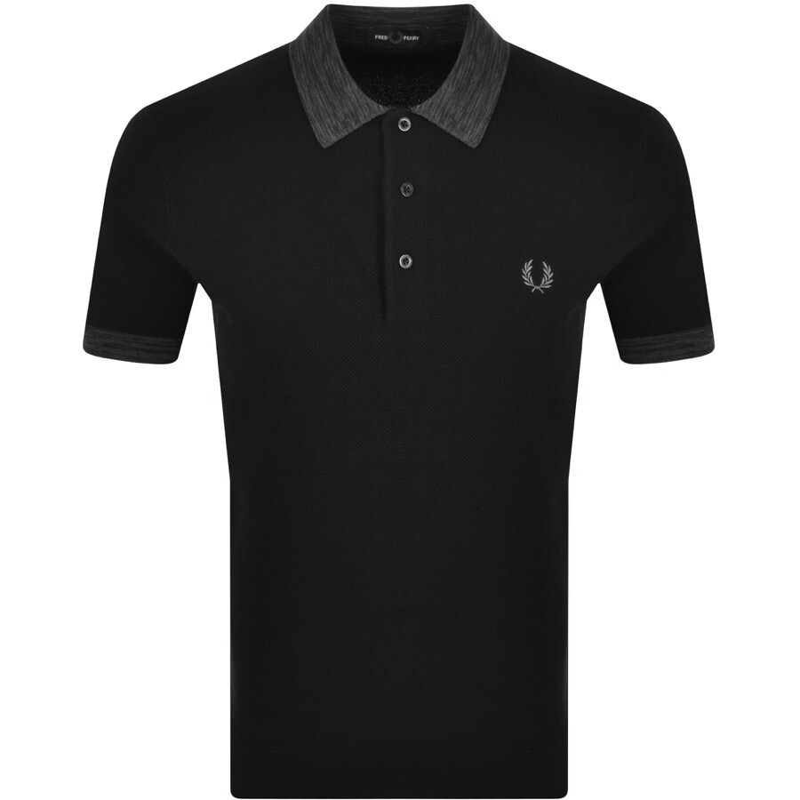 Fred Perry Space Dye Knit Polo Jumper In Black