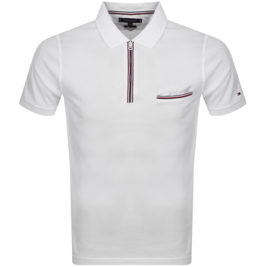 Tommy Hilfiger Zip Polo T Shirt White