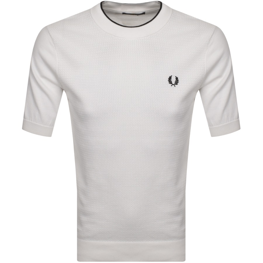 Fred Perry Textured Knit T Shirt White