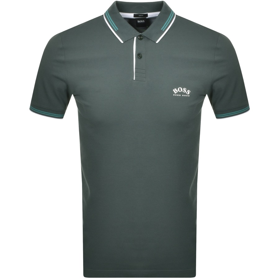 BOSS Paul Curved Polo T Shirt Green