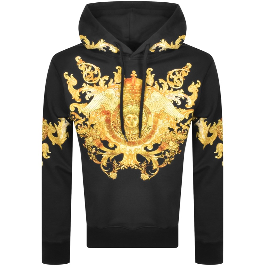 Versace Jeans Couture Pullover Logo Hoodie Black
