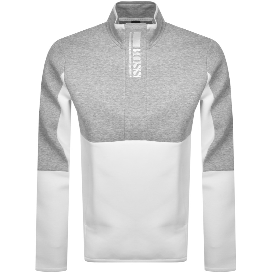 BOSS Half Zip Sweatshirt White