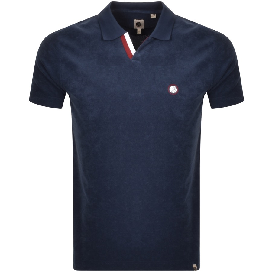 Pretty Green Tilby Towelling Polo T Shirt Navy