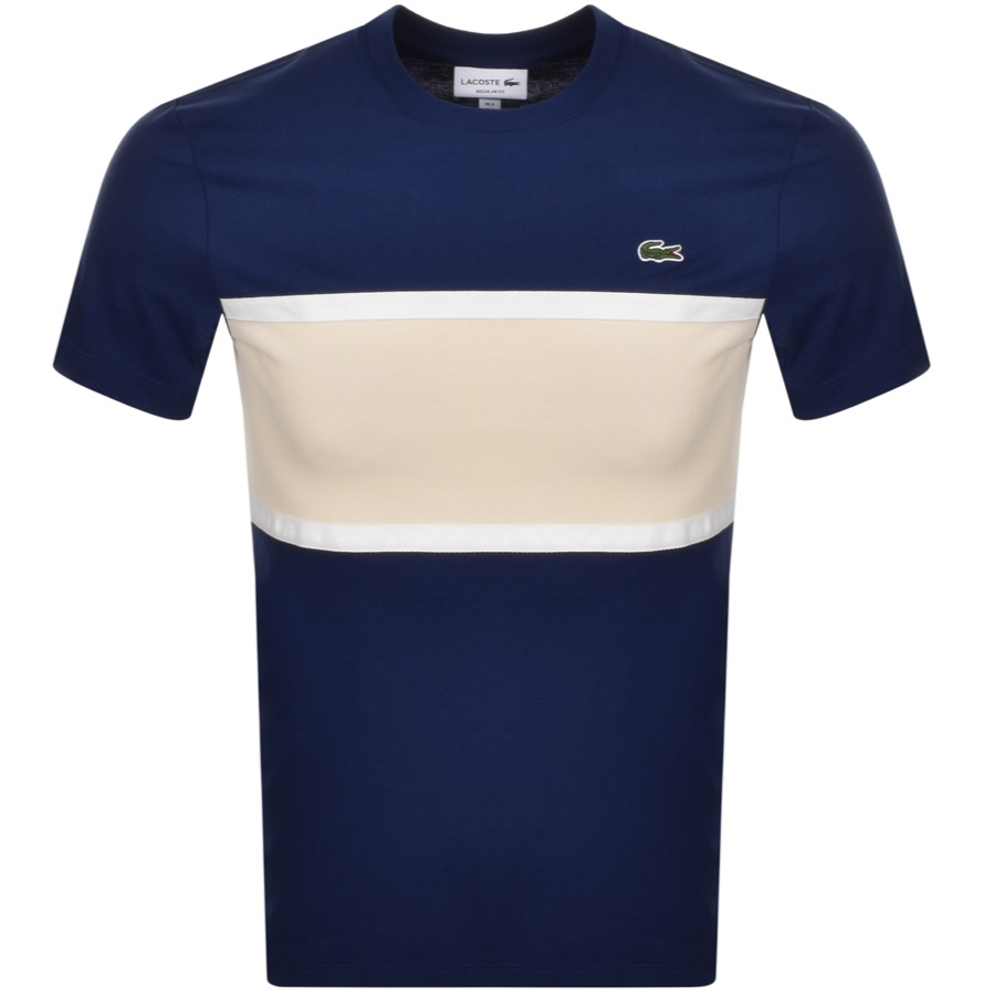 Lacoste Cottons LACOSTE CREW NECK PANEL T SHIRT NAVY