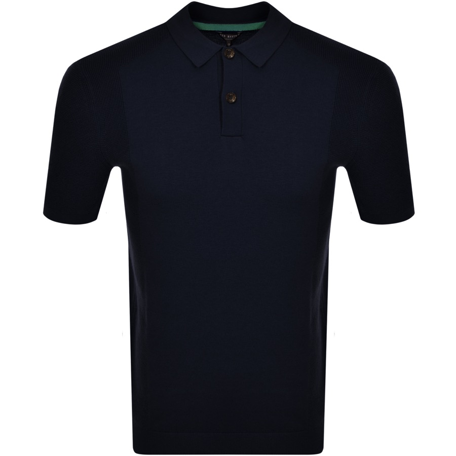 Ted Baker Shirts TED BAKER BUMP KNITTED POLO SHIRT NAVY