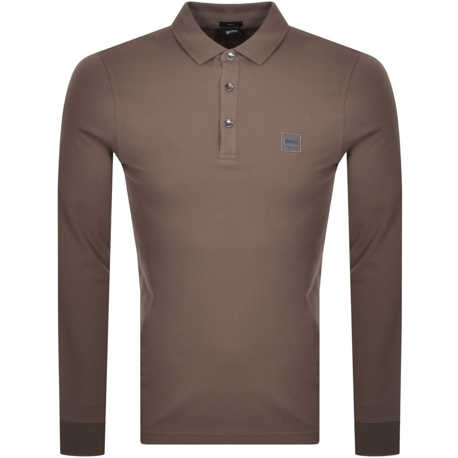 BOSS Long Sleeved Polo T Shirt Brown