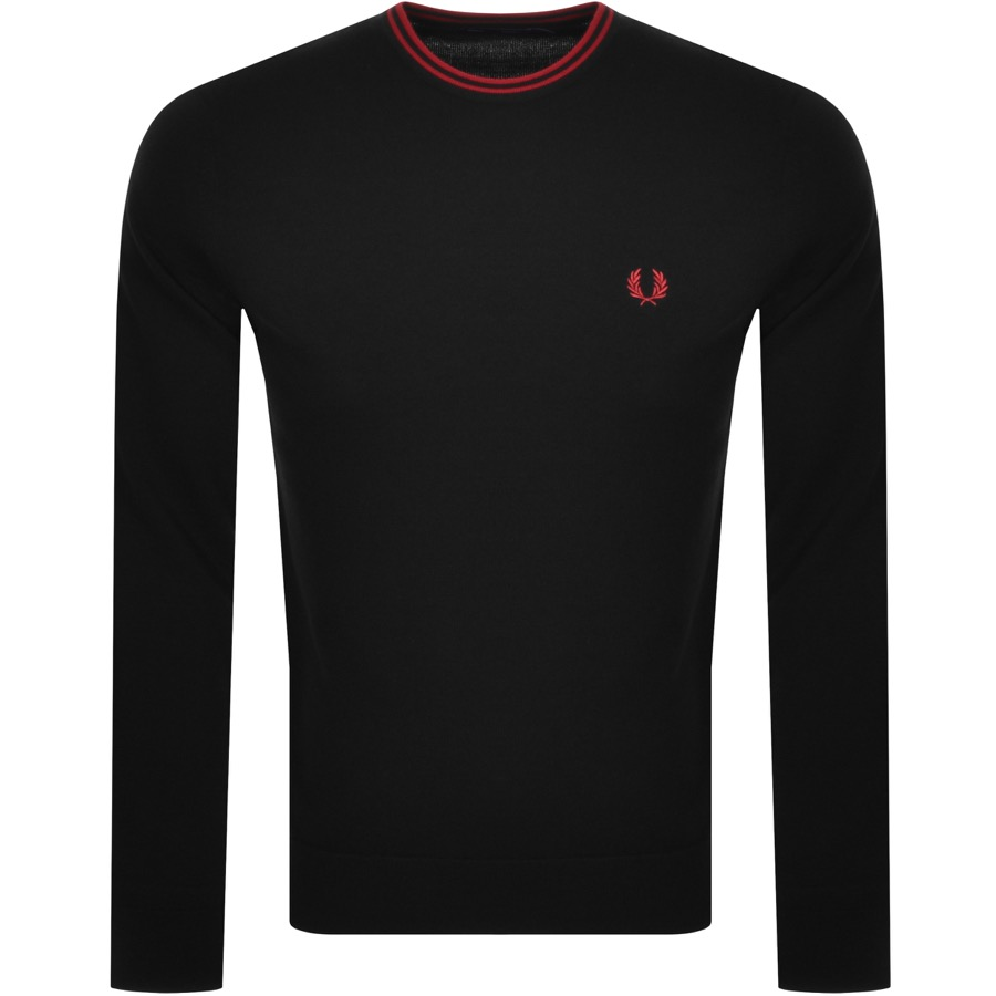Fred Perry FRED PERRY CREW NECK KNIT JUMPER BLACK