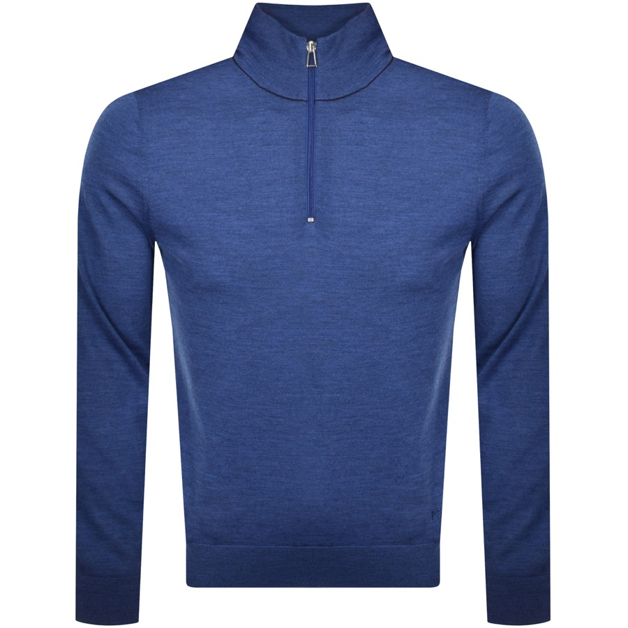 PS By Paul Smith Zip Neck Knitted Jumper Blue