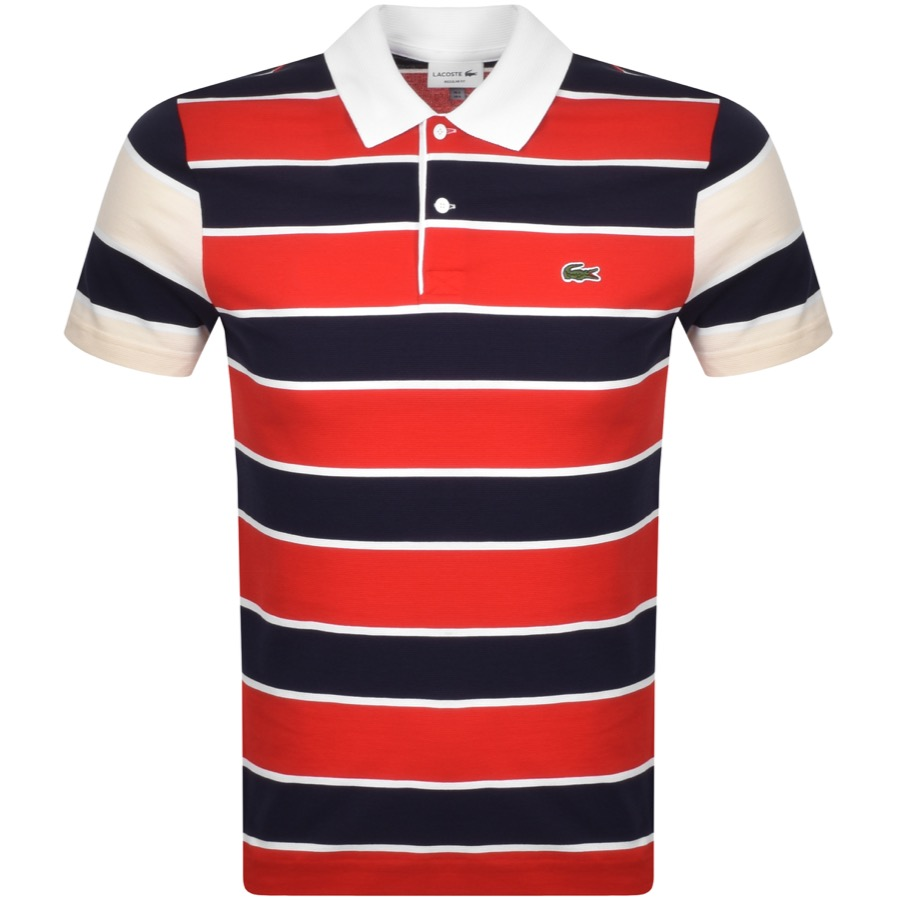 Lacoste Striped Short Sleeved Polo T Shirt Navy