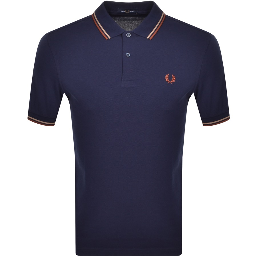 Fred Perry Twin Tipped Polo T Shirt Navy