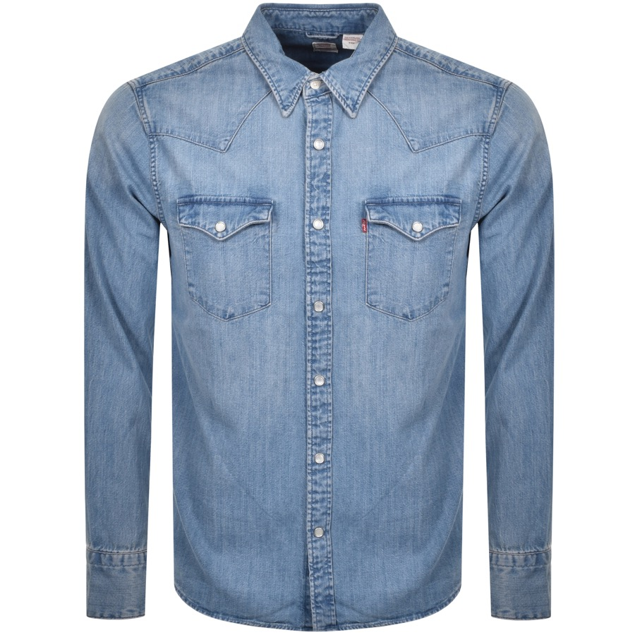 Levis Barstow Western Long Sleeved Shirt Blue