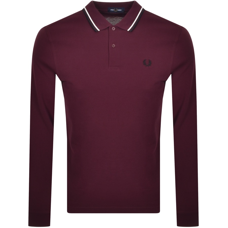 Fred Perry Twin Tipped Long Sleeve Polo Burgundy