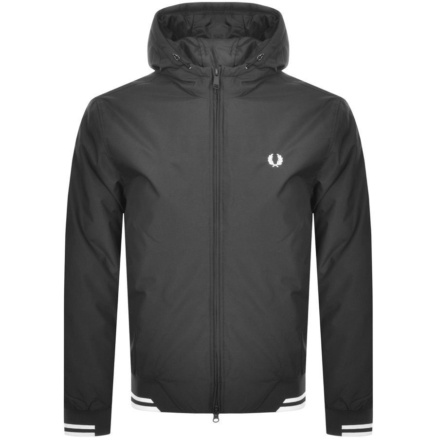 Fred Perry Padded Hooded Jacket Black