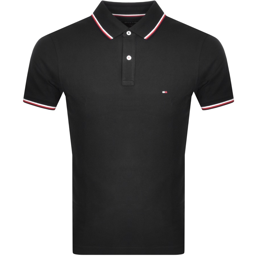 Tommy Hilfiger Tipped Slim Fit Polo T Shirt Black