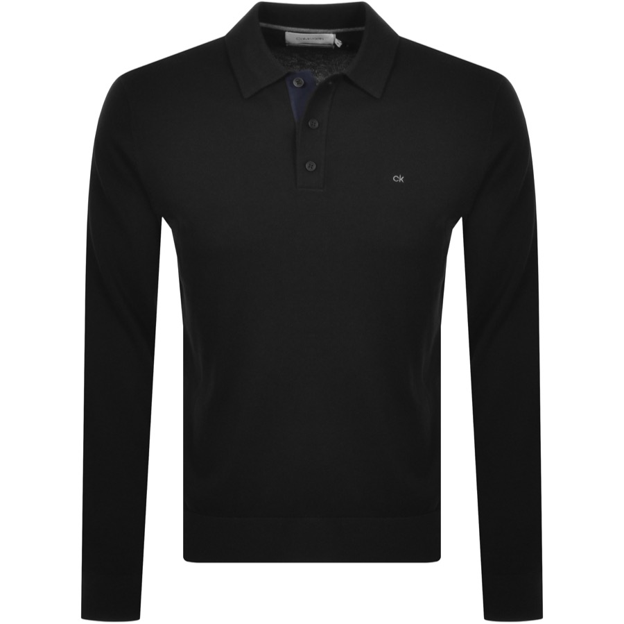 Calvin Klein Cotton Silk Polo Knit Jumper Black