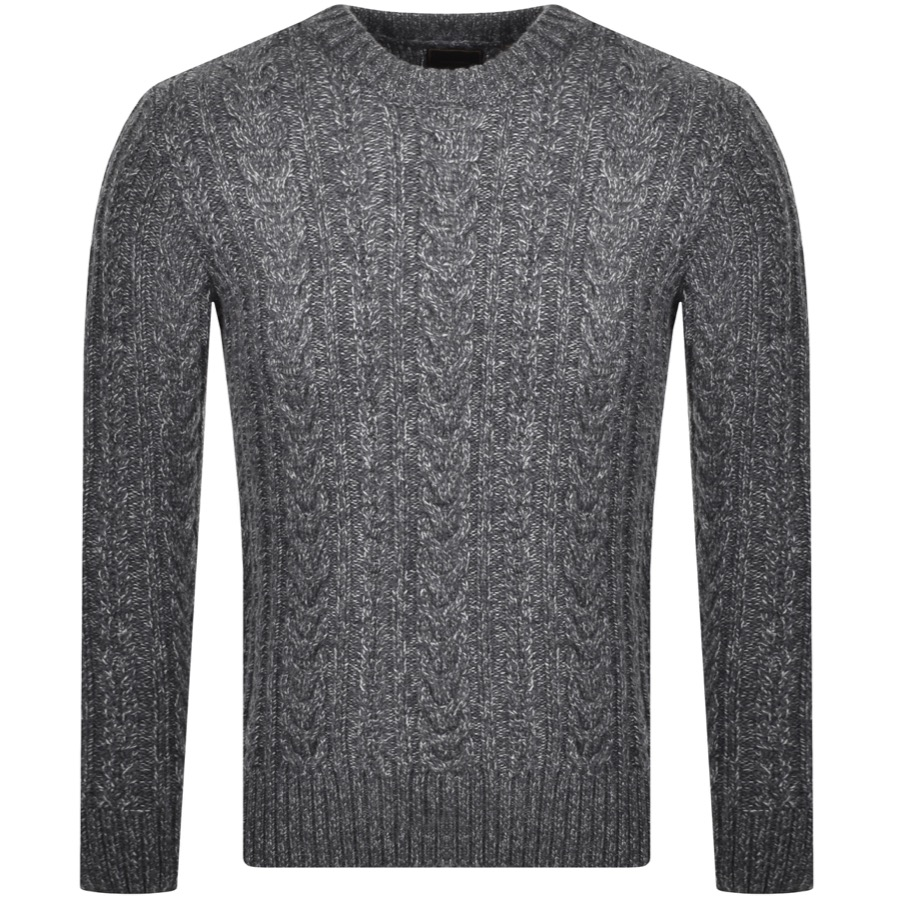 Superdry Jacob Cable Crew Jumper In Grey