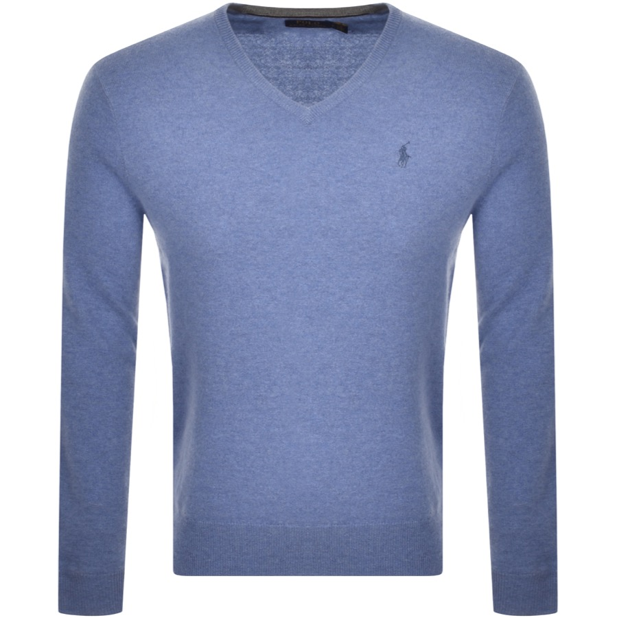 Ralph Lauren V Neck Wool Knit Jumper Blue
