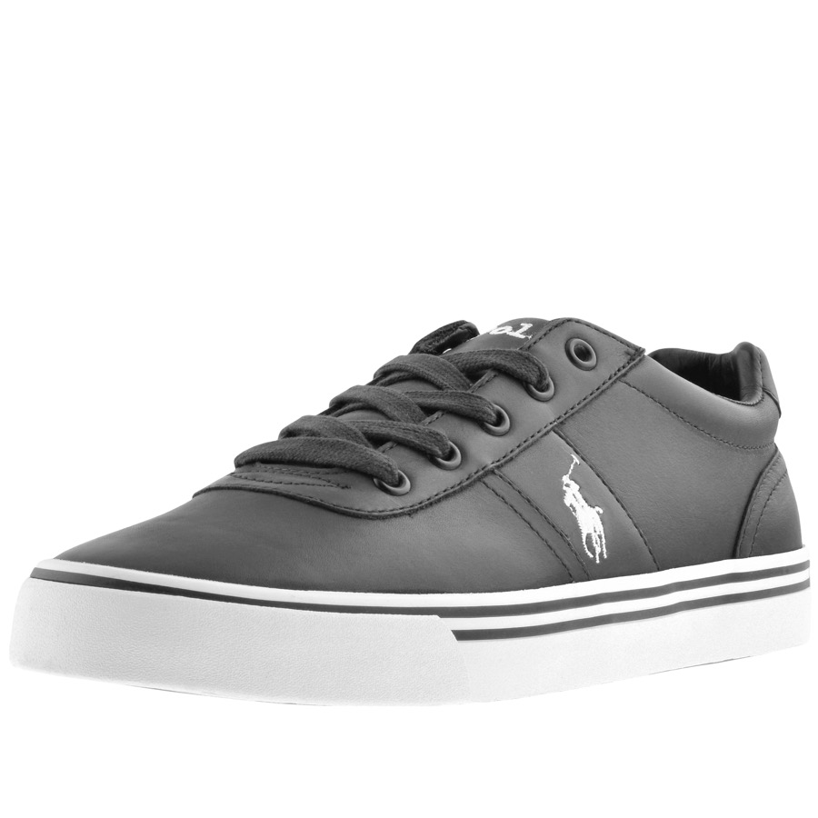 Ralph Lauren Hanford Leather Trainers Black