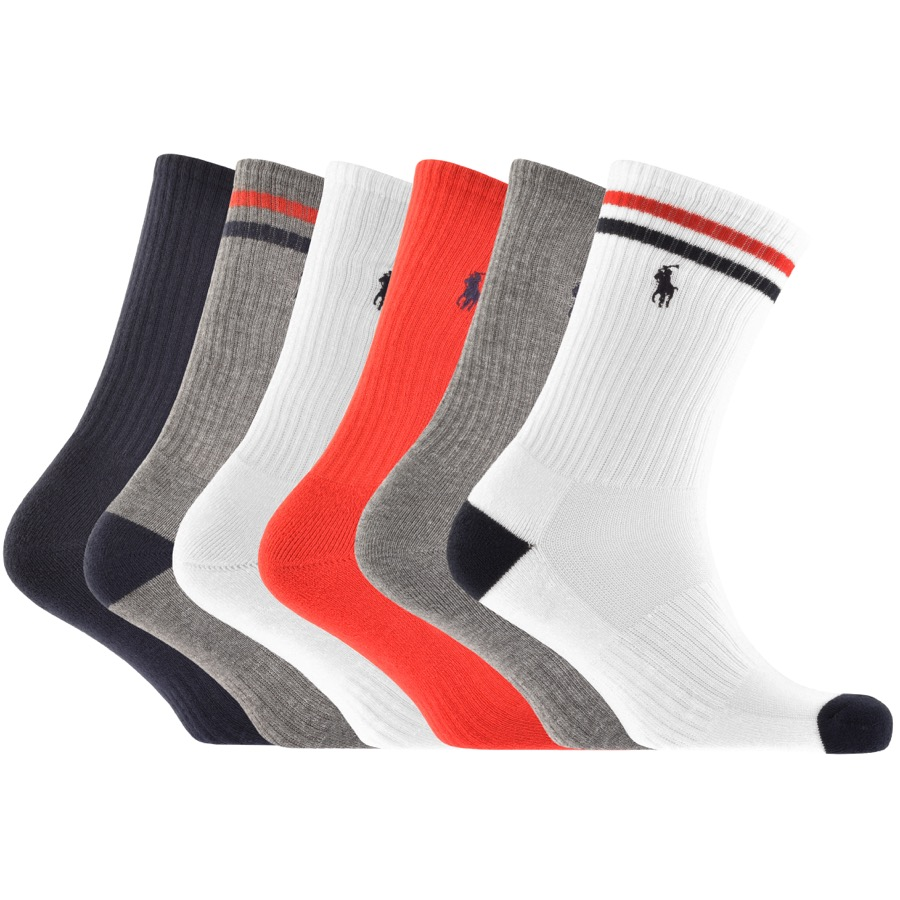 Ralph Lauren Polo Sport 6 Pack Socks White