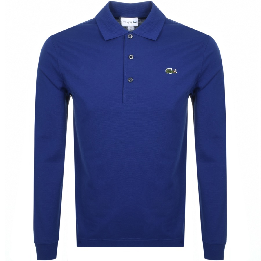 Lacoste Sport Long Sleeved Polo T Shirt Blue