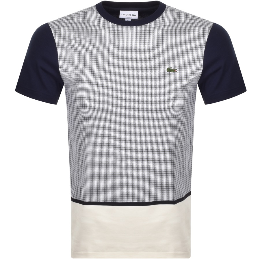 Lacoste Crew Neck Patterned T Shirt Navy