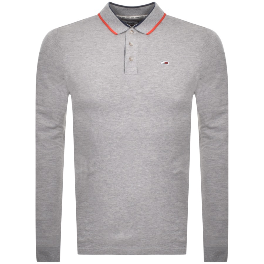 Tommy Jeans Slim Long Sleeve Polo T Shirt Grey