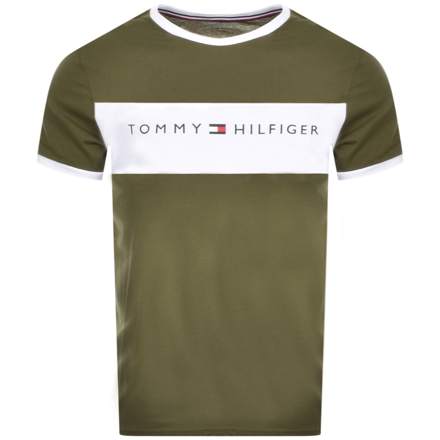 Tommy Hilfiger Lounge Logo Flag T Shirt Green