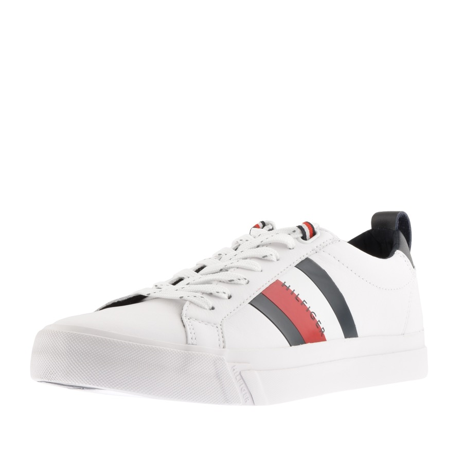 Tommy Hilfiger Flag Detail Leather Trainers White