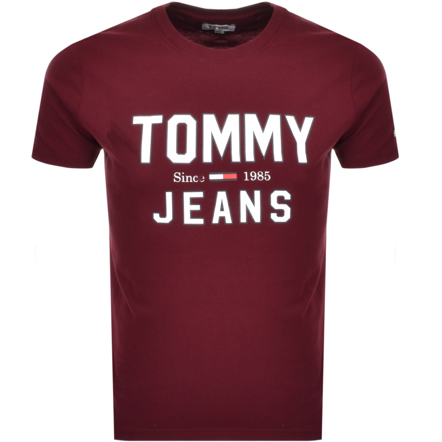 Tommy Jeans  Essential 1985 Logo T Shirt Burgundy