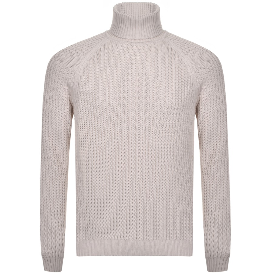BOSS HUGO BOSS Bovaro Roll Neck Knit Jumper Cream