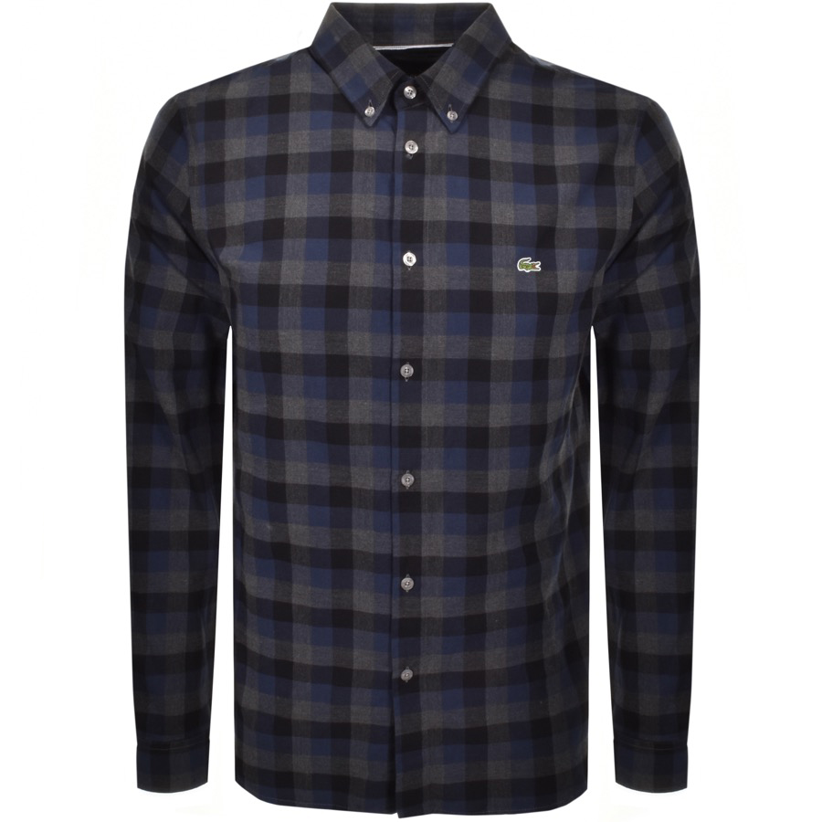 Lacoste Long Sleeved Check Shirt Navy