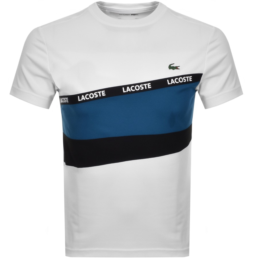 Lacoste Sport Stripe Panel T Shirt White