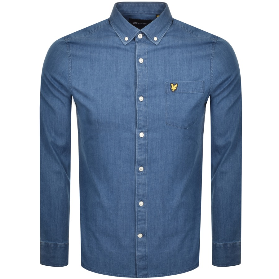 Lyle And Scott Long Sleeve Denim Shirt Blue
