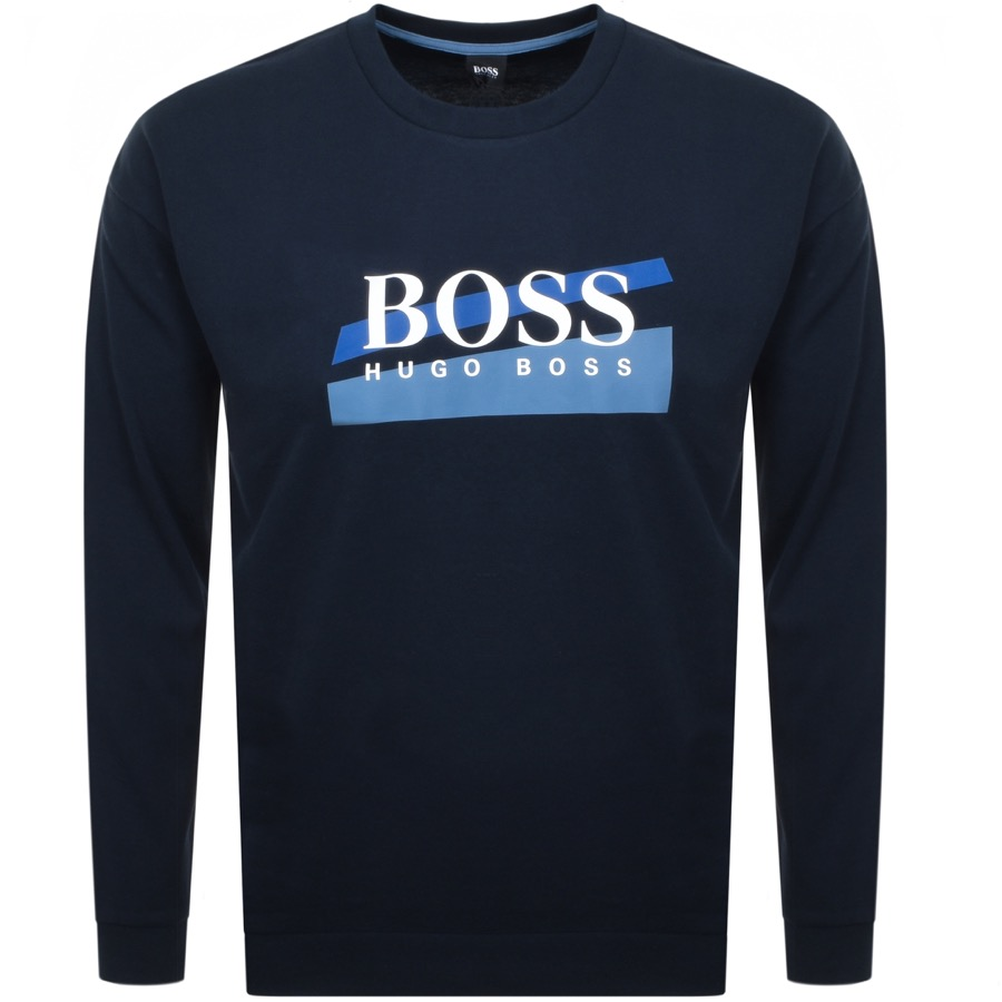 BOSS HUGO BOSS Logo Crew Neck Sweatshirt Navy