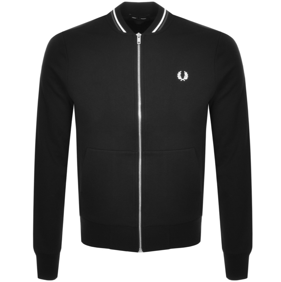 Fred Perry Tipped Bomber Sweatshirt Black