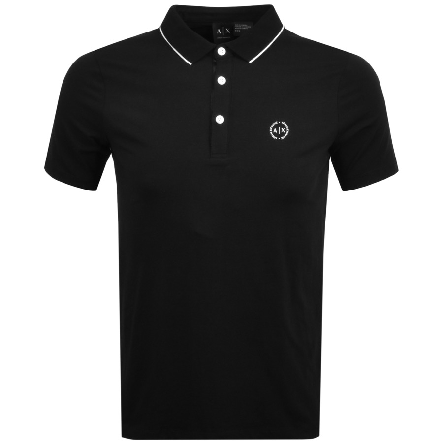 Armani Exchange Tipped Polo T Shirt Black